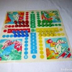 Juegos de mesa: JUEGO SIMILAR AL PARCHIS CON FICHAS DE CABALLOS.AÑOS 70.. Lote 197786206