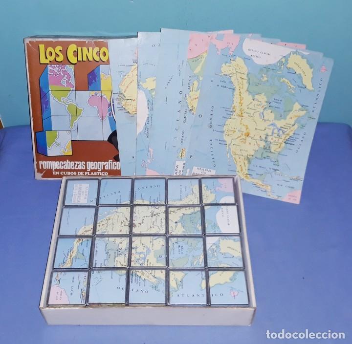 Juegos de mesa: ANTIGUO PUZZLE ROMPECABEZAS EN CUBOS LOS CINCO CONTINENTES DE DALMAU CARLES PLA COMPLETO - Foto 2 - 198640652