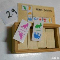 Juegos de mesa: ANTIGUO DOMINO ANIMAL CON FICHAS DE MADERA NUEVO SIN USAR. Lote 199162873