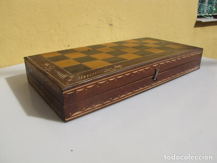 Juegos de mesa: 7- Ajedrez madera completo. Caja plegable tablero. - Foto 2 - 204522537