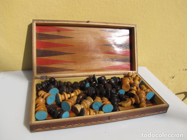 Juegos de mesa: 7- Ajedrez madera completo. Caja plegable tablero. - Foto 6 - 204522537