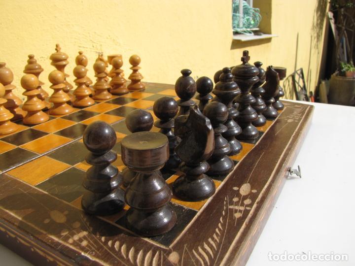 Juegos de mesa: 7- Ajedrez madera completo. Caja plegable tablero. - Foto 12 - 204522537