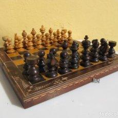 Juegos de mesa: AJEDREZ MADERA COMPLETO. CAJA PLEGABLE TABLERO.. Lote 204522537