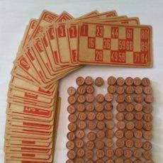 Juegos de mesa: CARTONES Y FICHAS BINGO ANTIGUO. Lote 205756040