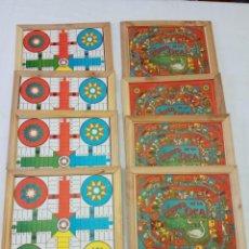 Juegos de mesa: LOTE DE 8 JUEGOS DE LA OCA ANTIGUOS CON REVERSO PARCHÍS EN MARCOS DE MADERA. Lote 205825433