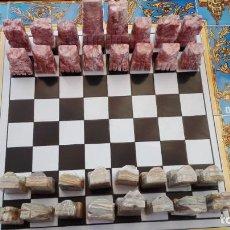 Juegos de mesa: AJEDREZ - TABLERO AZULEJOS MOTIVOS DEL ROCÍO + PIEZAS EN MÁRMOL + ESTUCHE - VER FOTOS.. Lote 211656908