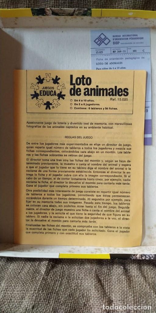 Juegos de mesa: JUEGO EDUCA, LOTO DE ANIMALES. - Foto 4 - 211702776