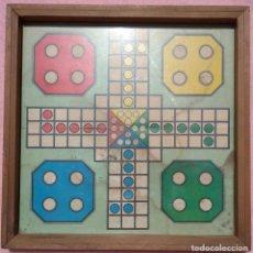 Juegos de mesa: ANTIGUO TABLERO DE PARCHÍS ENMARCADO, MEDIADOS S. XX /// JUEGO OCA DAMAS AJEDREZ PUZLE DISNEY MADERA. Lote 212488491