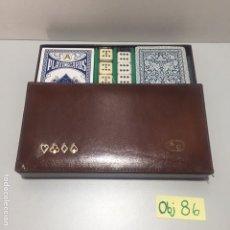 Juegos de mesa: ESTUCHE DE MUS ANTIGUO CUERO. Lote 214184526