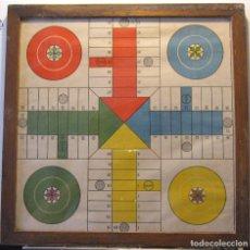 Juegos de mesa: ANTIGUO TABLERO DE PARCHÍS. PARCHESSI. MARCO DE MADERA Y CRISTAL. 34 X 34 CM. Lote 214555266