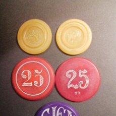 Juegos de mesa: FICHAS DE CASINO EPOCA MODERNISTA LOTE TAL FOTO. Lote 218923852