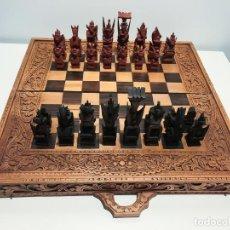 Juegos de mesa: AJEDREZ / BACKGAMMON ARTESANAL TALLADO EN MADERA - TAILANDIA. Lote 231567250