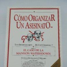 Jogos de mesa: COMO ORGANIZAR UN ASESINATO EL CASO DE LA MANSION WATERSDOWN. Lote 231613080