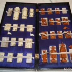 Juegos de mesa: ANTIGUO ESTUCHE/CAJA AJEDREZ / PIEZAS EN HUESO O SIMILAR, TALLADAS CADA UNA A MANO ¡PRECIOSO, MIRA!. Lote 240083890