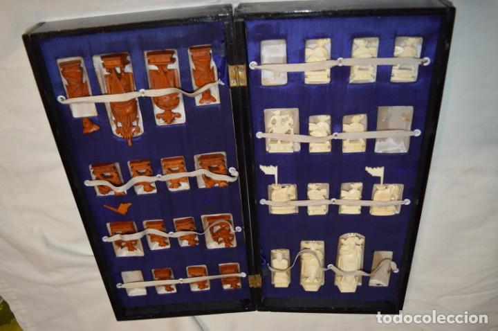 Juegos de mesa: Antiguo ESTUCHE/CAJA AJEDREZ / Piezas en hueso o similar, talladas cada una a mano ¡Precioso, MIRA! - Foto 2 - 240083890