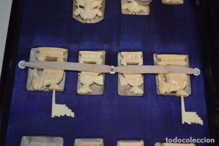 Juegos de mesa: Antiguo ESTUCHE/CAJA AJEDREZ / Piezas en hueso o similar, talladas cada una a mano ¡Precioso, MIRA! - Foto 8 - 240083890