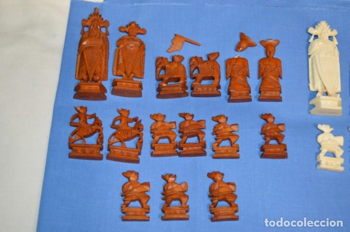 Juegos de mesa: Antiguo ESTUCHE/CAJA AJEDREZ / Piezas en hueso o similar, talladas cada una a mano ¡Precioso, MIRA! - Foto 13 - 240083890
