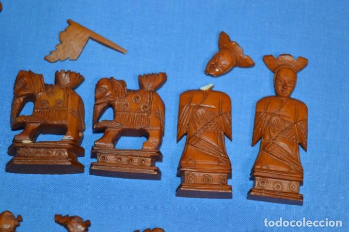 Juegos de mesa: Antiguo ESTUCHE/CAJA AJEDREZ / Piezas en hueso o similar, talladas cada una a mano ¡Precioso, MIRA! - Foto 16 - 240083890