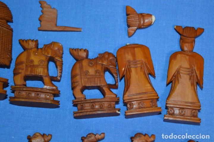 Juegos de mesa: Antiguo ESTUCHE/CAJA AJEDREZ / Piezas en hueso o similar, talladas cada una a mano ¡Precioso, MIRA! - Foto 17 - 240083890