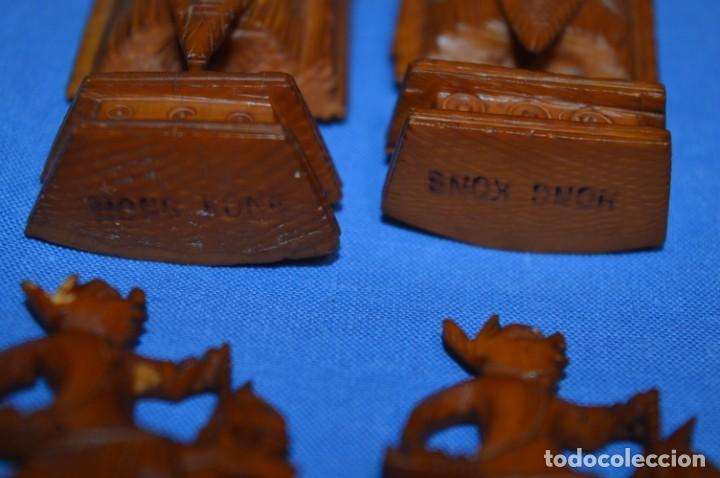 Juegos de mesa: Antiguo ESTUCHE/CAJA AJEDREZ / Piezas en hueso o similar, talladas cada una a mano ¡Precioso, MIRA! - Foto 24 - 240083890