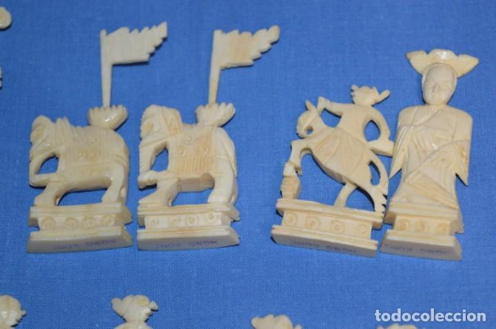 Juegos de mesa: Antiguo ESTUCHE/CAJA AJEDREZ / Piezas en hueso o similar, talladas cada una a mano ¡Precioso, MIRA! - Foto 27 - 240083890