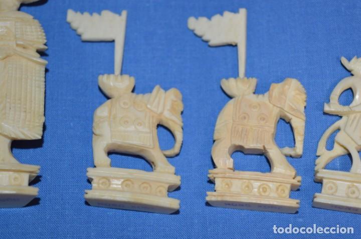 Juegos de mesa: Antiguo ESTUCHE/CAJA AJEDREZ / Piezas en hueso o similar, talladas cada una a mano ¡Precioso, MIRA! - Foto 28 - 240083890