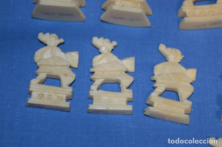 Juegos de mesa: Antiguo ESTUCHE/CAJA AJEDREZ / Piezas en hueso o similar, talladas cada una a mano ¡Precioso, MIRA! - Foto 29 - 240083890