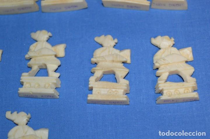 Juegos de mesa: Antiguo ESTUCHE/CAJA AJEDREZ / Piezas en hueso o similar, talladas cada una a mano ¡Precioso, MIRA! - Foto 31 - 240083890
