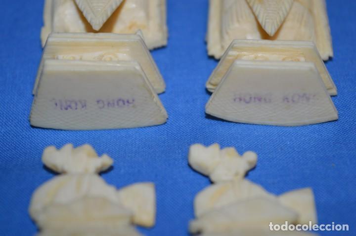 Juegos de mesa: Antiguo ESTUCHE/CAJA AJEDREZ / Piezas en hueso o similar, talladas cada una a mano ¡Precioso, MIRA! - Foto 36 - 240083890