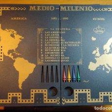 Juegos de mesa: JUEGO DE MESA MEDIO MILENIO DOS LIBROS DE PREGUNTAS Y RESPUESTAS Y EL TABLERO QUE ES DE MADERA. Lote 241924570