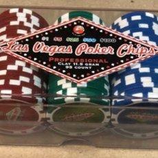 Juegos de mesa: CAJA CON 75 FICHAS CASINO LAS VEGAS - $1, $5, $25, $50 Y $100 - SIN ABRIR.. Lote 150257478