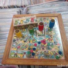 Giochi da tavolo: ANTIGUO JUEGO OCA-PARCHIS EN MADERA CON CUBILETES ORIGINALES AÑOS 40/50. Lote 263325480