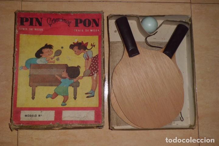 PRECIOSO JUEGO DE PIN - PONG, COMPLETO, AÑOS 40 (Juguetes - Juegos - Juegos de Mesa)