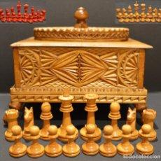 Juegos de mesa: JUEGO DE PIEZAS DE AJEDREZ DE MADERA DE BOJ Y CAJA DE MADERA TRABAJADA. Lote 270124743