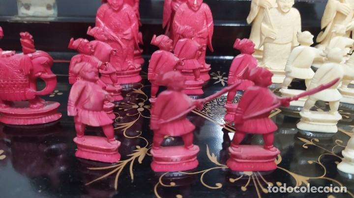 Juegos de mesa: Ajedrez con tablero de laca china y piezas de marfil tallado, finales XIX - Foto 3 - 272649213