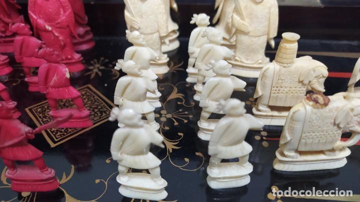 Juegos de mesa: Ajedrez con tablero de laca china y piezas de marfil tallado, finales XIX - Foto 7 - 272649213