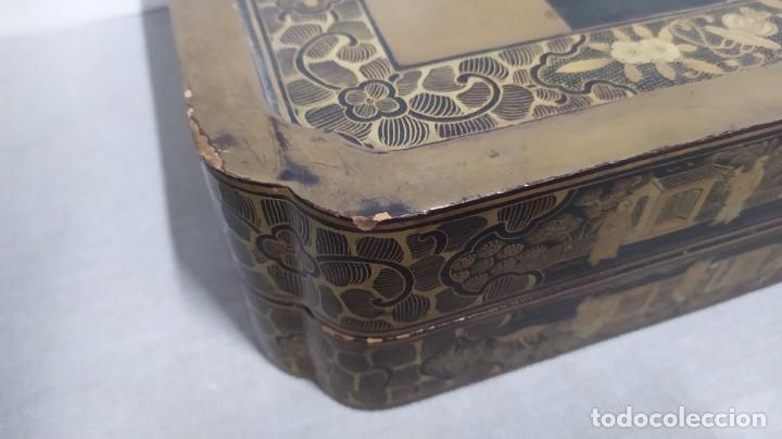 Juegos de mesa: Ajedrez con tablero de laca china y piezas de marfil tallado, finales XIX - Foto 11 - 272649213