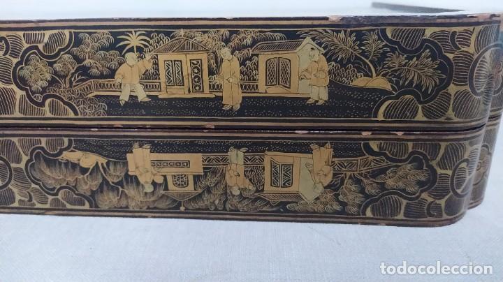 Juegos de mesa: Ajedrez con tablero de laca china y piezas de marfil tallado, finales XIX - Foto 14 - 272649213