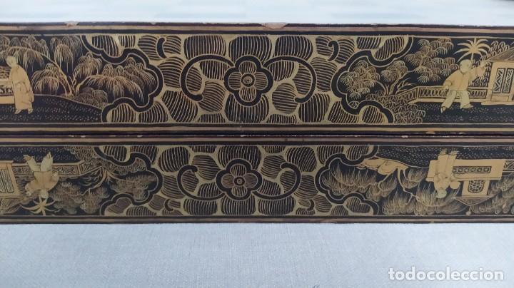 Juegos de mesa: Ajedrez con tablero de laca china y piezas de marfil tallado, finales XIX - Foto 15 - 272649213
