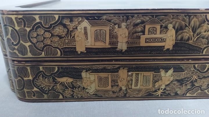 Juegos de mesa: Ajedrez con tablero de laca china y piezas de marfil tallado, finales XIX - Foto 16 - 272649213