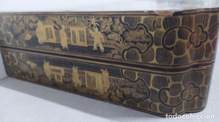 Juegos de mesa: Ajedrez con tablero de laca china y piezas de marfil tallado, finales XIX - Foto 17 - 272649213