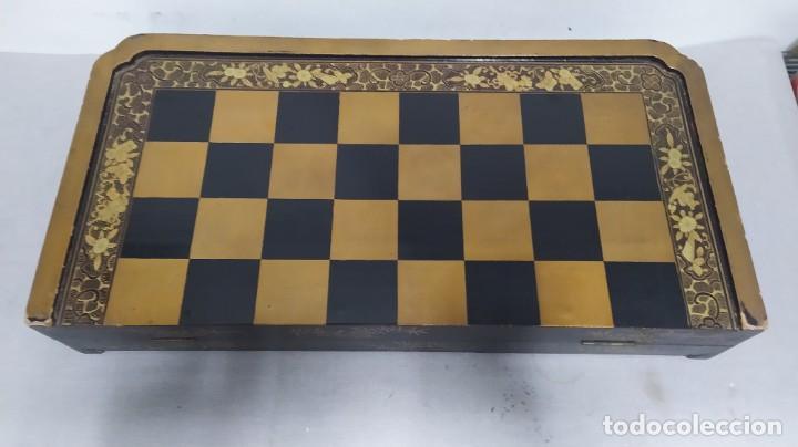 Juegos de mesa: Ajedrez con tablero de laca china y piezas de marfil tallado, finales XIX - Foto 19 - 272649213