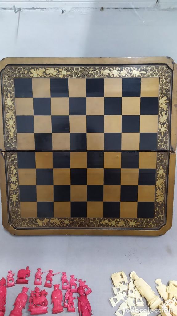 Juegos de mesa: Ajedrez con tablero de laca china y piezas de marfil tallado, finales XIX - Foto 25 - 272649213