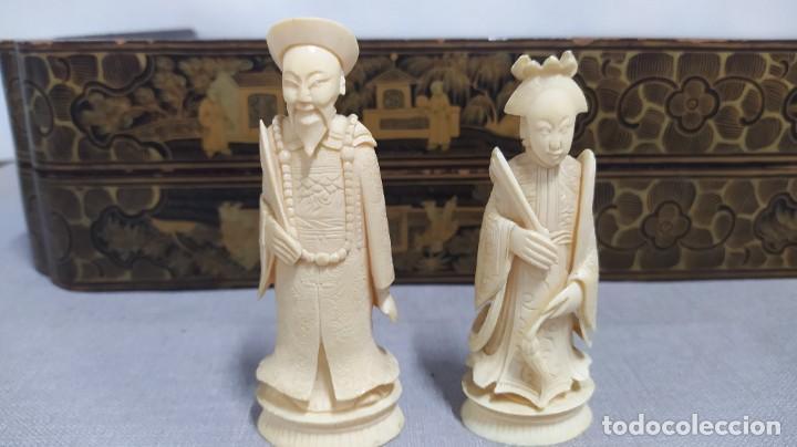 Juegos de mesa: Ajedrez con tablero de laca china y piezas de marfil tallado, finales XIX - Foto 41 - 272649213