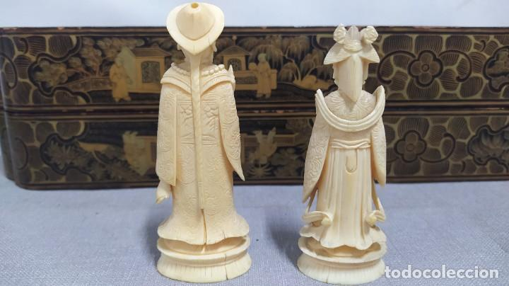Juegos de mesa: Ajedrez con tablero de laca china y piezas de marfil tallado, finales XIX - Foto 42 - 272649213