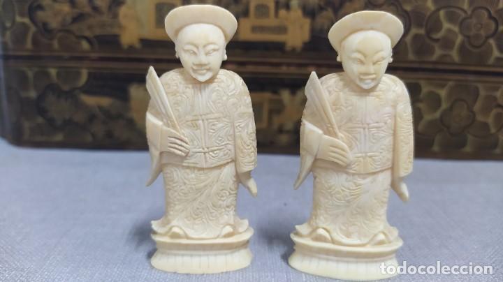 Juegos de mesa: Ajedrez con tablero de laca china y piezas de marfil tallado, finales XIX - Foto 43 - 272649213