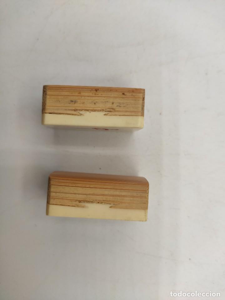 Juegos de mesa: Juego de mesa chino Mah- Jongg, caja en madera tallada con aplicaciones en bronce y fichas en hueso - Foto 6 - 277728558