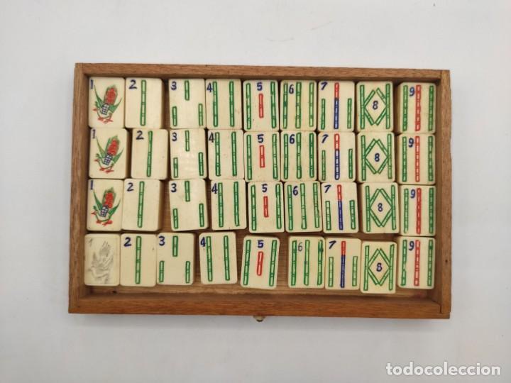 Juegos de mesa: Juego de mesa chino Mah- Jongg, caja en madera tallada con aplicaciones en bronce y fichas en hueso - Foto 12 - 277728558