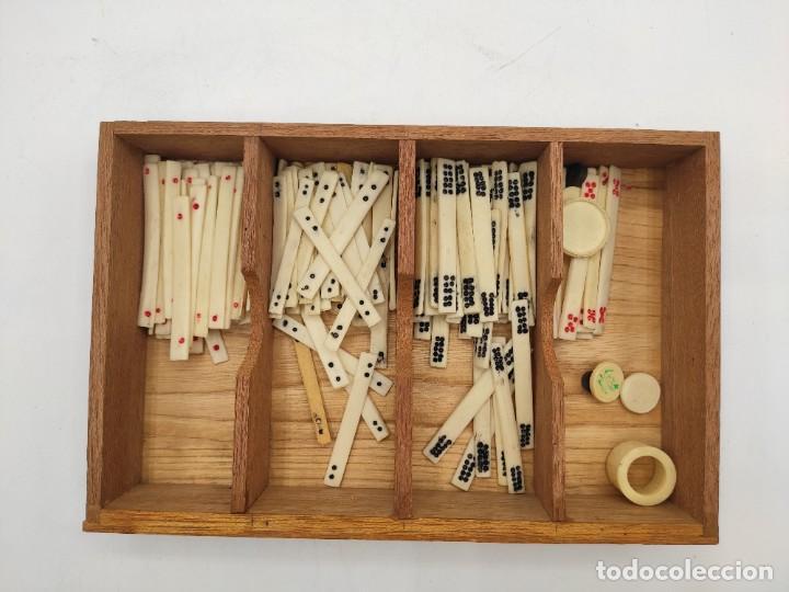 Juegos de mesa: Juego de mesa chino Mah- Jongg, caja en madera tallada con aplicaciones en bronce y fichas en hueso - Foto 15 - 277728558