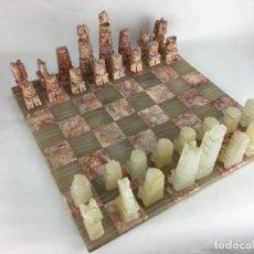 Juegos de mesa: MAGNIFICO AJEDREZ EN MARMOL PIEDRA ONIX. Lote 286889253